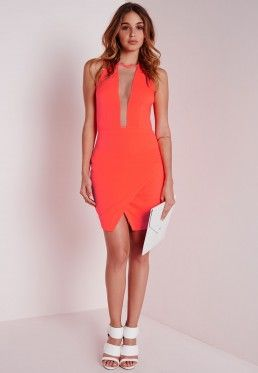 Crepe Mesh Insert Asymmetric Hem Bodycon Dress Orange