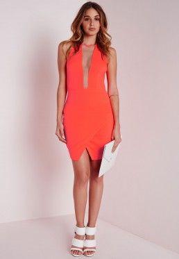 Crepe Mesh Insert Asymmetric Hem Bodycon Dress Orange
