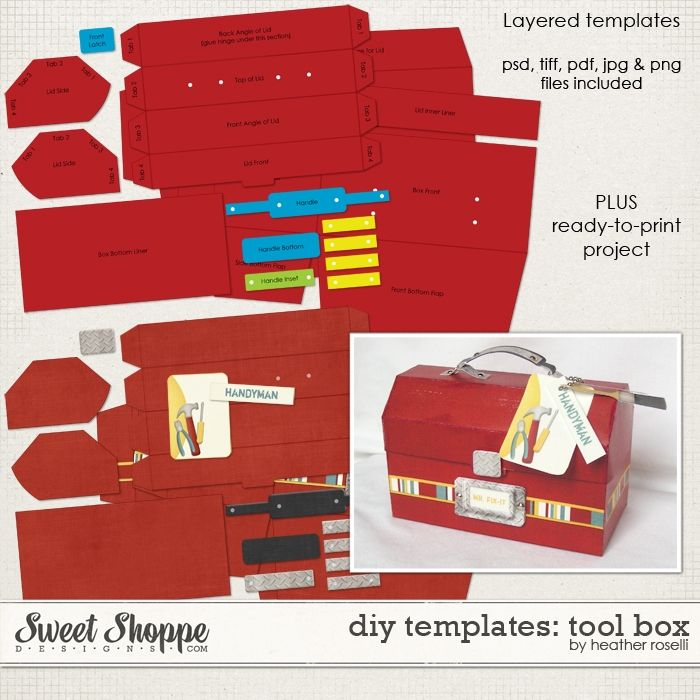 Diy Printable Templates Tool Box By Heather Roselli Diy Paper Project Templates Printables