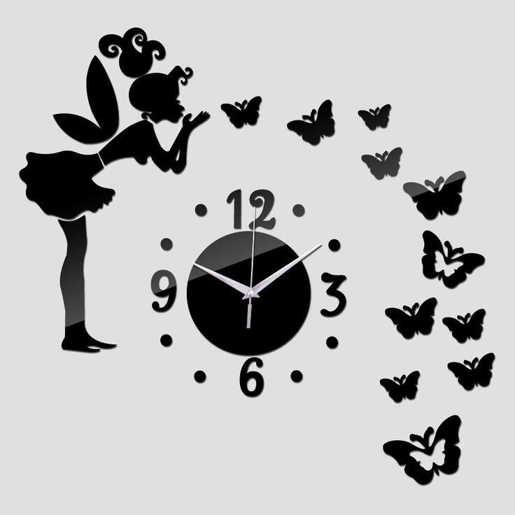 Acrylic Wall Sticker Mirror Stickers Still Life Diy Home Decor Butterfly Horse Wall Clock Photo Wall