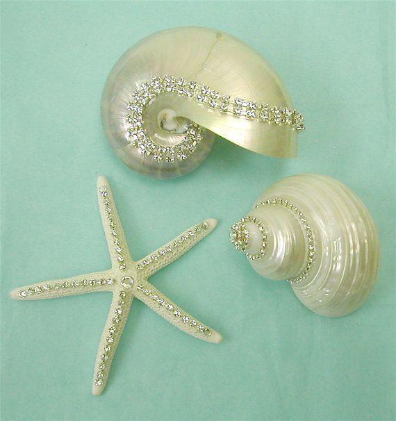 Crystal Studded Shells - Beach Decor, in a beach cottage bedroom or bathroom, great idea
