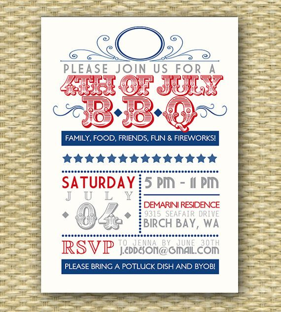 Vintage 4th of July BBQ Invitation - Typography Poster