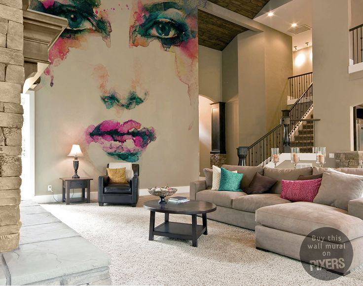 Not a huge fan of the actual mural design but like how it takes up a whole big wall without overpowering the room