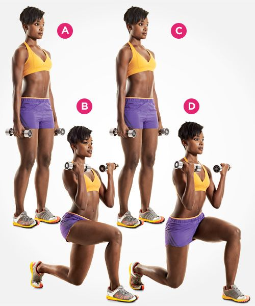 Challenge yourself to this lunge with biceps curl--and 4 more new exercises to tone your butt and thighs: www.womenshealthmag.com/fitness/new-lunge-exercises?cm_mmc=Pinterest-_-womenshealth-_-content-fitness-_-newlungestotry
