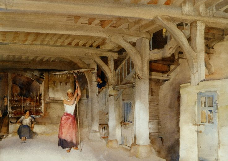 Lucilla Posing Amid the Jeers of Her Companions :: Sir William Russell Flint - village life