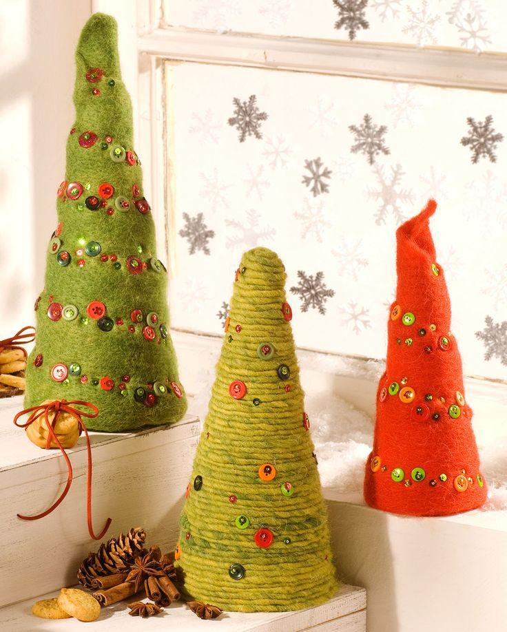 """Weihnachtsbaum mit Wollbändern (Idee mit Anleitung – Klick auf """"Besuchen""""!) -"""