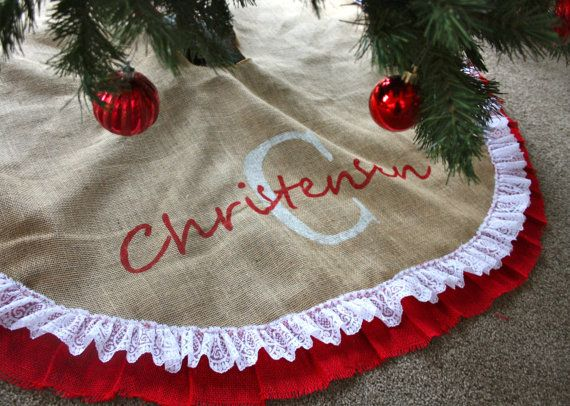 Lace tree skirt monogramed custom tree skirt christmas tree skirt