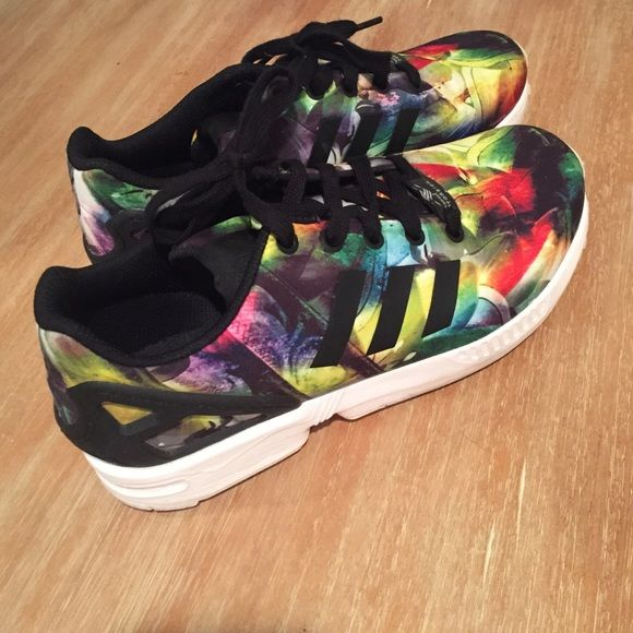 Adidas ZX flux Multicolored, great pattern. These are a wonderful shoe but I find that I'm more of a solid-color shoe person. I've only worn them twice. They look nearly new. Adidas Shoes Athletic Shoes