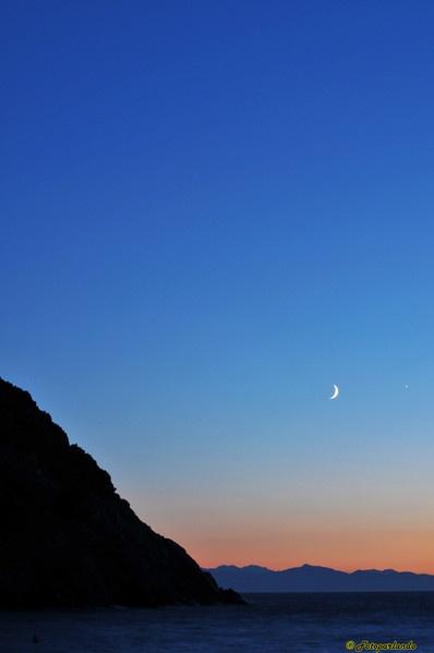 Tramonto all'isola d'Elba - località Patresi. Sullo sfondo la Corsica