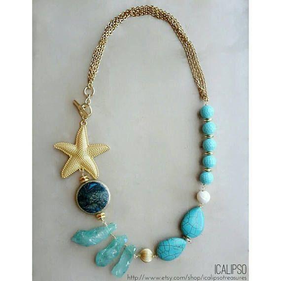 Collana estiva collana di turchese collana stella marina