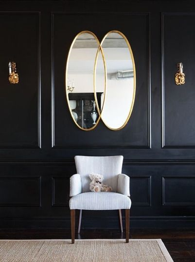 Dark panelled walls with dark floor and gold accents