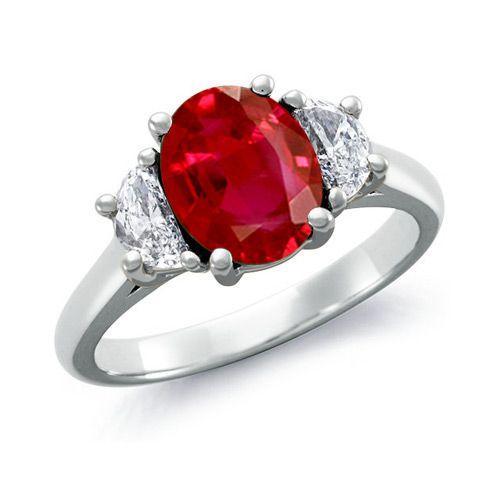 Angara Three Stone Ruby Halo Ring With Diamond Border in Platinum 4VXicFK19