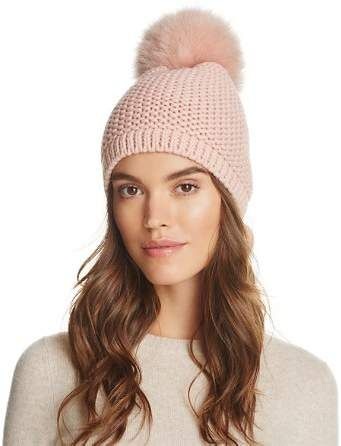 907fa7429b8 Kyi Kyi Slouchy Hat with Fox Fur Pom-Pom - 100% Exclusive