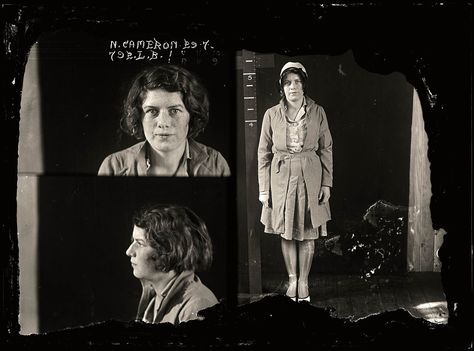 Nellie Cameron was one of Sydney's best-known, and most desired, prostitutes. Lillian Armfield, Australia's first policewoman, said Cameron had an 'assured poise that set her apart from all the other women of the Australian underworld'. Aged 21. Part of an archive of forensic photography created by the NSW Police between 1912 and 1964.