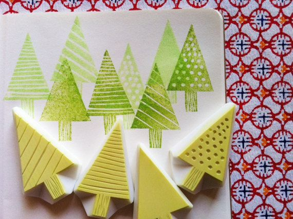 winter forest rubber stamp set. cedar tree hand von talktothesun