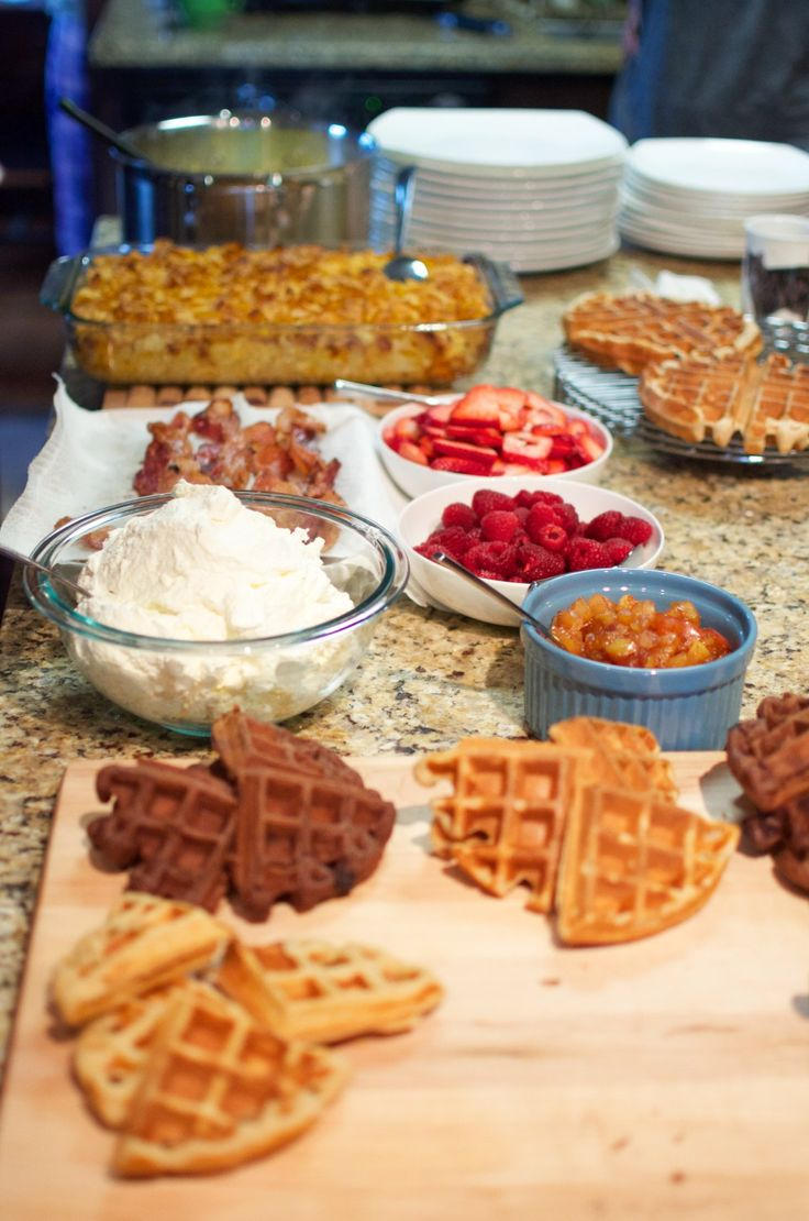 morning brunch waffle bar | grown up slumber party | a couple of amateurs