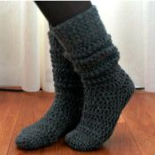 "**Pinner Said: ""This is the pattern I've been looking for! I just sat down and made a pair of these for myself in under two hours. I used a #5 wool in dark charcoal and they're the most comfortable socks I've ever made!!!""--I want to try these now. :-)..**"