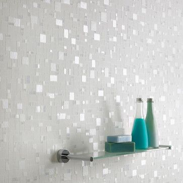 Spa Wallpaper - Create a bright, fresh look with subtle hints of shimmer. This design, created using light and non-intrusive whites and blues, is ideal for bathrooms and can be cleaned with a sponge or even scrubbed if necessary for easy maintenance.