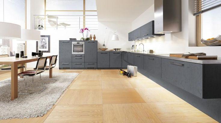 кухня ALNOPLAN OXIDGRAU - текстурный ламинированный фасад с фактурой камня