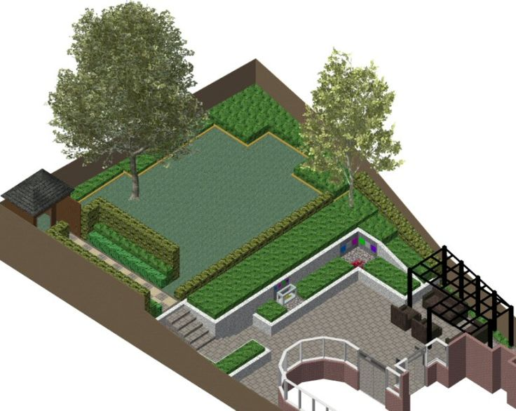 3 d cad model of garden design for a sloping family garden in reading berkshire with large entertaining terrace raised lawn area secure for child