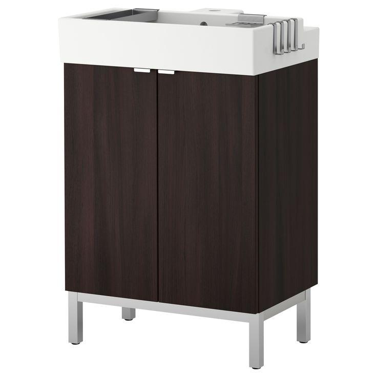 """LILLÅNGEN Sink cabinet with 2 doors - black-brown, 23 5/8x16 1/8x36 1/4 """" - IKEA"""