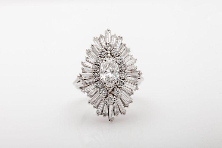 Estate $12,000 5ct Marquis Baguette Diamond VS H 14k Gold BALLERINA Ring