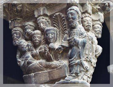 Capitel con escenas bíblicas (Tudela), la resurrección de Lázaro. (Isaac Brito)