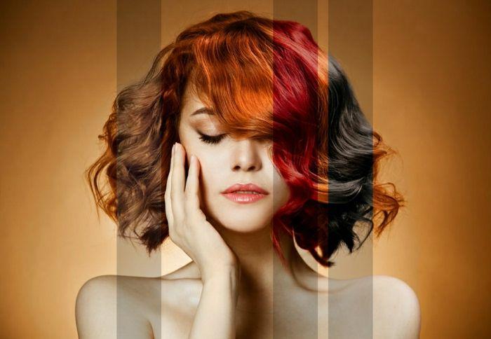 Rottöne  Kupfer, Kupferblond, Intensiv Rot, Dunkle Kirsche, armlanges Haar