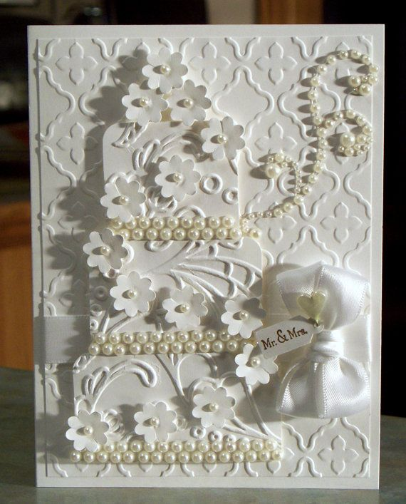 Card Making Ideas Silver Wedding Part - 35: Handmade Stampinu0027 Up Wedding Card, White On White Embossed Three Tier Cake