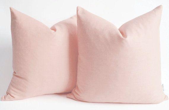 Pastel Pink Pillows | Items similar to Sukan / Pink Cotton canvas throw pillow - light pink ...