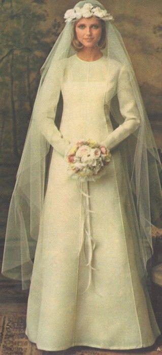 1970s Nina Ricci Bridal Dress modeled by Cheryl Tiegs