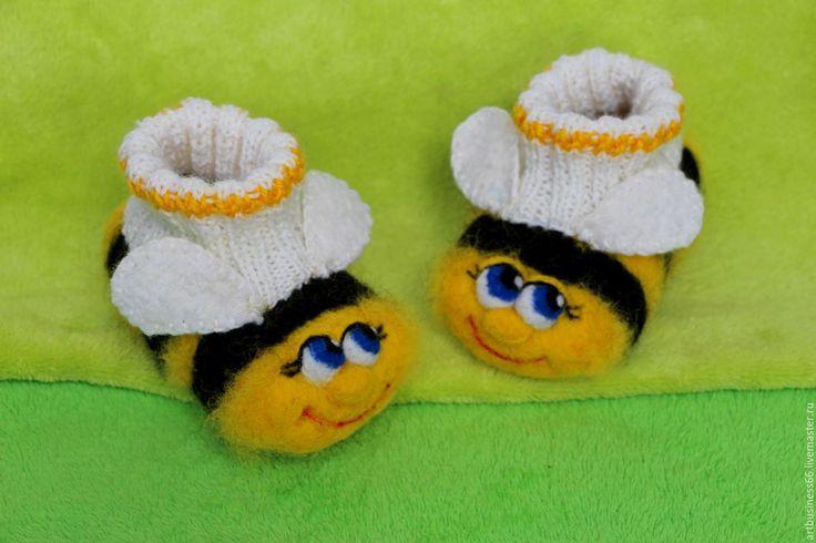Купить Пинетки Веселые пчелки - желтый, пинетки шерстяные, валяные, теплые, Нарядные, веселые