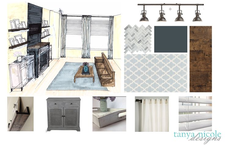 Condo Living Room, sketch, mood board