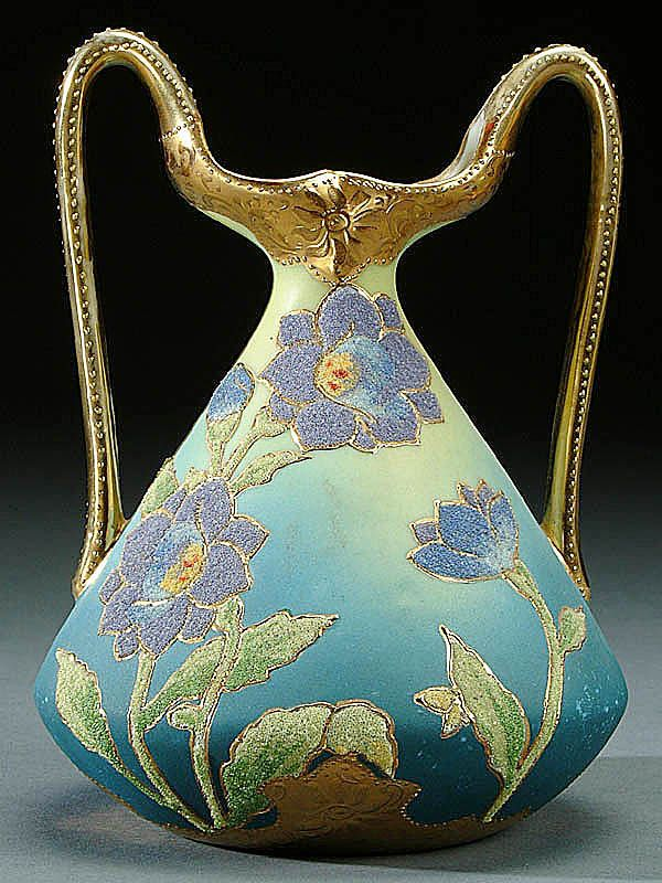NIPPON CORALENE DECORATED PORCELAIN HANDLED VASE circa 1909 with beaded glass decoration