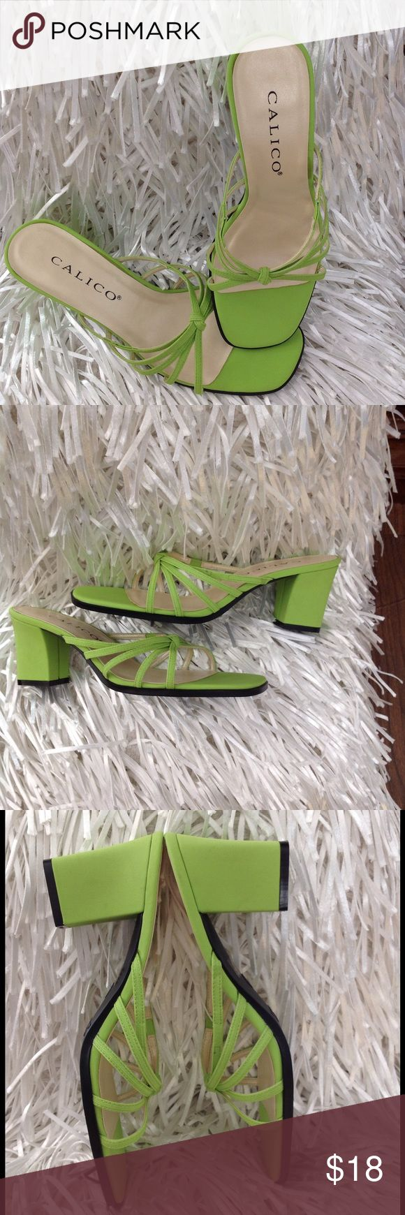 """Calico sandals neon green slip on heels size 8.5 Calico sandals. Neon green color. The heel is about 3"""" tall. Size 8.5 B. These would be very stylish with any spring or summer outfit. Good preowned condition. calico Shoes Sandals"""