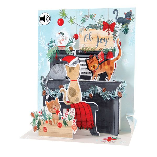 Piano Cats Audio Pop Up Christmas Card Pop Up Christmas Cards Christmas Cards Pop Up Greeting Cards