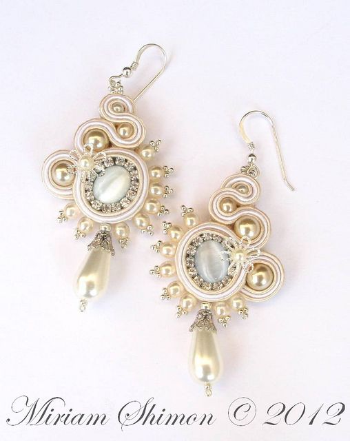 White and Cream Bridal Soutache earrings