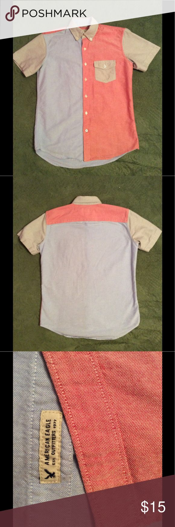 American Eagle shirt XS American Eagle red, gray, and blue color block button up shirt size XS. Add to a bundle for a great deal. American Eagle Outfitters Shirts Casual Button Down Shirts