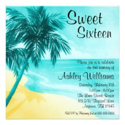 Tropical Beach Sweet 16 Birthday Party Invitations Personalized Invites