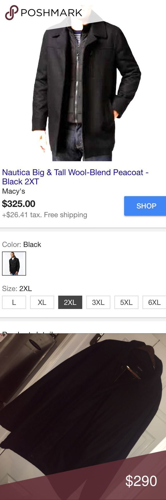 Nautica men's pea coat zipper up wool jacket new Never worn men's nautica pea coat ! This is a zip up and is in new pristine condition !! It is heavy and sure to keep you warm .. It is black and lovely for the winter .. Similar jacket (not as heavy goes for Macy's at 325 ) however purchased at nautica store for 400 it's a 2xl !! Make offers will consider reasonable ones !! Nautica Jackets & Coats Pea Coats