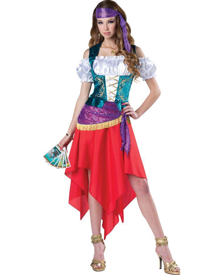 teens mystical gypsy esmeralda crystal ball gypsy fortune teller costume - Mystical Halloween Costumes