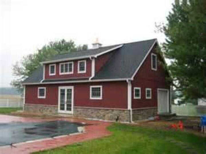Barn with shed dormer barns pinterest barn garage for 4 bedroom pole barn house plans