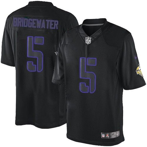$24.99 Nike Limited Teddy Bridgewater Black Men's Jersey - Minnesota Vikings #5 NFL Impact