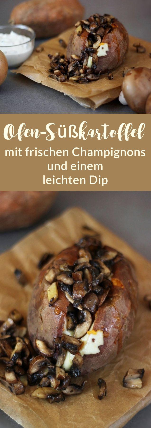 Rezept: Ofen-Süßkartoffel mit frischen Champignons und einem leichten Dip, bestehend aus griechischem Joghurt und Frühlingszwiebeln.  #rezept #süßkartoffel