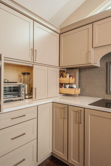 nice kitchen storage idease--transitional kitchen by Kayron Brewer, CKD, CBD / Studio K B