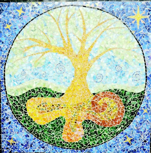 "Cancer-related art exhibit expresses hope: A centerpiece of the exhibit is a ""Tree of Life"" mosaic designed by local artist Evelyn Crews, who spent a month working with cancer patients to make the mosaic piece by piece. ""She cut the pieces of glass and worked with cancer survivors and their loved ones, helping them put the pieces together,"" Weaver said. ""Doing the mosaic was a form of therapy for them."""