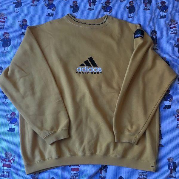 Image Of Vintage Yellow Adidas Equipment Sweatshirt L Vintage Crewneck Sweatshirt Retro Sweatshirts Yellow Adidas