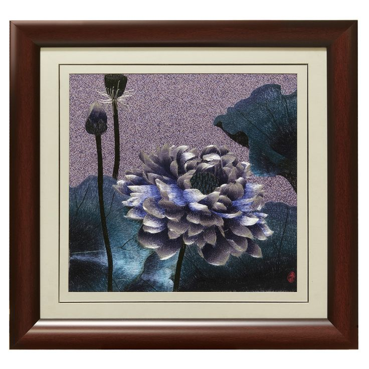 Silk Embroidery Frame with Lotus