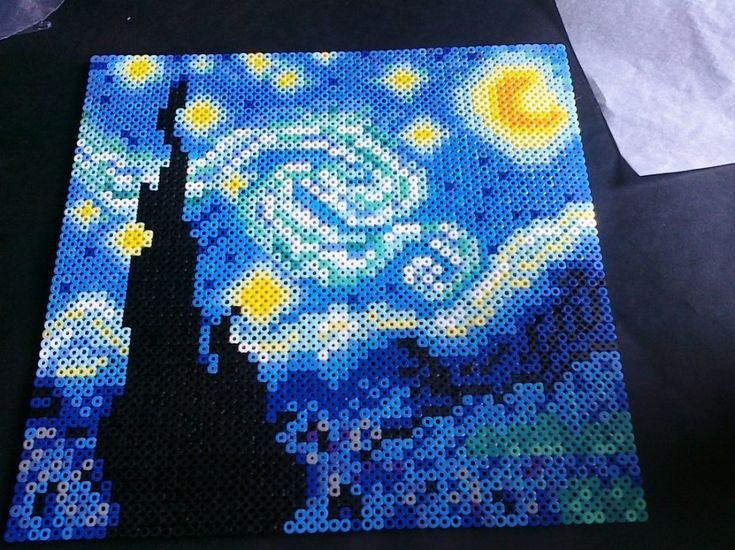 Fuse Bead StarryNight / group project. each student gets a piece of the pic to duplicate &fuse. Individual pieces are then put together and fused into the whole pic.