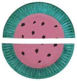 Watermelon Paper Plate Craft - practice fractions!